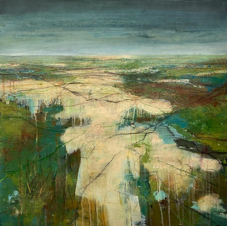 Mixed media abstract landscape painting